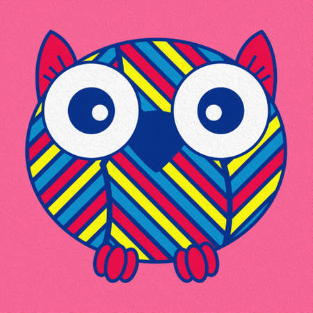 Illustration of a funny cartoon oval owl on pink background, made as an oil painting