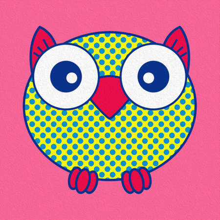 Illustration of a funny cartoon owl with big eyes made with the effect of oil paint Standard-Bild