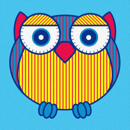 Illustration of amusing cartoon oval owl in yellow, red and blue hues made with the effect of oil paint