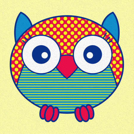 Illustration of a funny cartoon oval owl in red, yellow and blue hues made with the effect of oil paint Standard-Bild