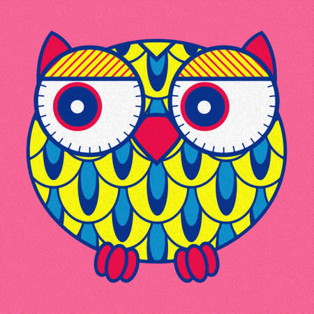 Illustration of amusing cartoon oval owl with flowers on a pink background, made as an oil painting