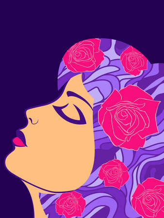Charming and sensual woman with pink big roses in purple hair on dark background Illustration