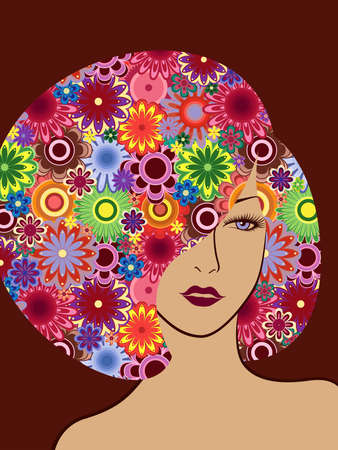 Mysterious woman with luxurious colorful floral hair with a variety of flowers on dark red background