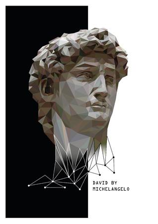 ミケランジェロのダビデのベクトル低ポリゴン スタイル イラスト。黒と白の背景。
