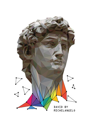 Vector low poly style illustration of David by Michelangelo with colorful elements.