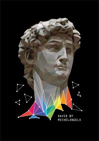 ベクトル カラフルな要素とミケランジェロのダビデの低ポリ スタイルのイラスト。