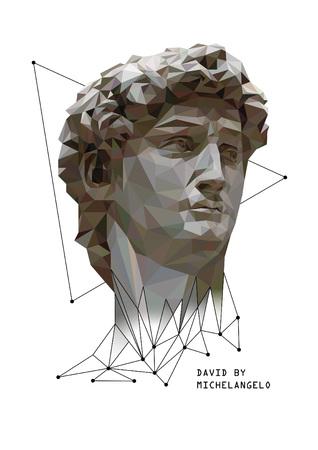 미켈란젤로 의해 데이비드의 벡터 낮은 폴리 스타일 그림.