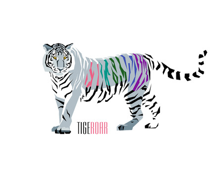 Vector abstract illustration of tiger with corolful stripes. WPAP style.
