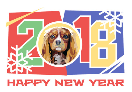 Vector illustration. Happy New Year 2018. Year of the Dog. Cavalier King Charles Spaniel.