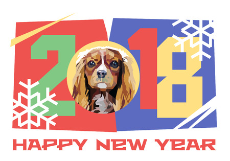 Happy New Year 2018. Year of the Dog. Cavalier King Charles Spaniel. Vector illustration.
