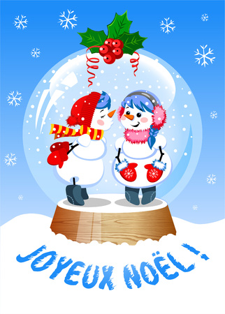 Funny Christmas Snow Globe with a kissing snowman inside. French language. Illustration