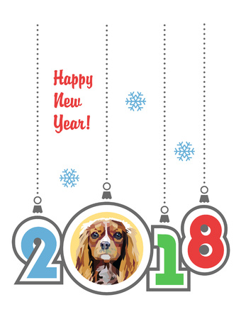 Happy New Year and hanging 2018 with snowflakes isolated on white. Cavalier King Charles Spaniel dog. Vector illustration.