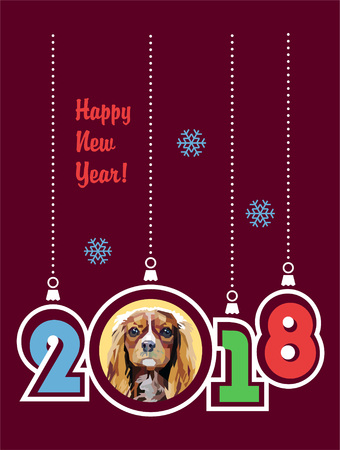 Happy New Year 2018 greeting card. Year of the Dog. Cavalier King Charles Spaniel. Vector illustration. Purple background. Vintage style. Illustration