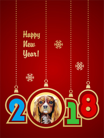 Happy New Year 2018. Year of the Dog. Cavalier King Charles Spaniel. Vector illustration with gold gradient. Vintage style.