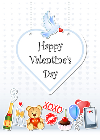 Greeting card for Valentines Day with funny cartoon characters. All stickers elements are separated.