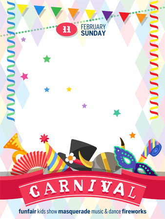 Greeting poster for Carnival with colorful festive elements separated on white background. Place for your text message. Flat design. Vector illustration. Illustration