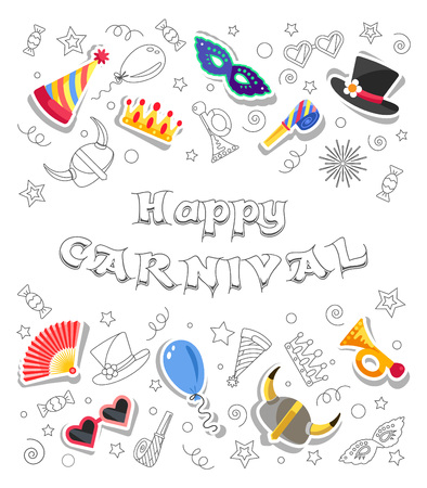 Happy Carnival. Greeting card with funny festive elements and doodles style objects. All elements are separated on white background. Vector illustration. Illustration