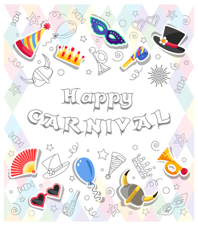 Happy Carnival. Colorful greeting card with funny festive elements and Doodles style objects. All elements are separated. Vector illustration. Illustration