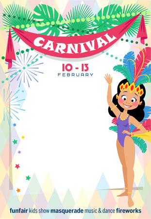 Template Carnival poster with cute Brazilian Girl wearing a samba dancer costume.  Place for your text message. Vector illustration. Illustration
