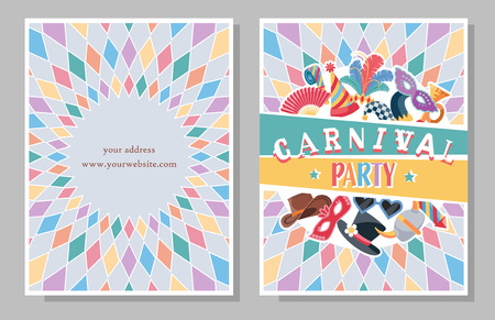 Two sides invitation or flyer for Carnival Party with colorful festive elements.