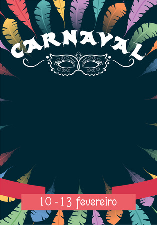 Template Carnival poster with colorful feathers and elegant mask. Place for your text message. Illustration