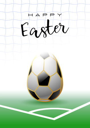 Happy Easter. Easter egg in the shape of a soccer ball. Sports greeting card. Vector illustration.