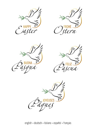 Happy Easter. Set of multilingual elegant inscription with Dove, Egg and Olive branch. All elements separated on white background. English, german, italian, spanish, french language.