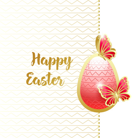 Happy Easter. Elegant greeting card with red easter egg and golden butterflies. Vector illustration.