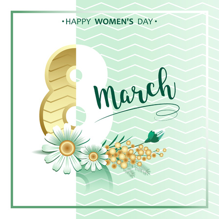 8 march. Hand lettering script with mimosa and chamomile flowers over green background. Vector illustration.