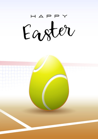 Happy Easter text with a realistic Easter egg in the shape of a tennis ball vector illustration