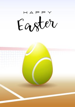 Texto feliz de Pascua con un huevo de Pascua realista en forma de una ilustración de vector de pelota de tenis