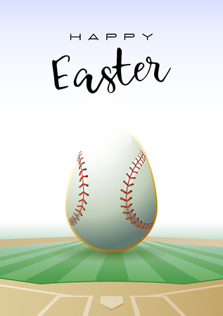 Happy Easter text with a realistic Easter egg in the shape of a baseball vector illustration. Çizim