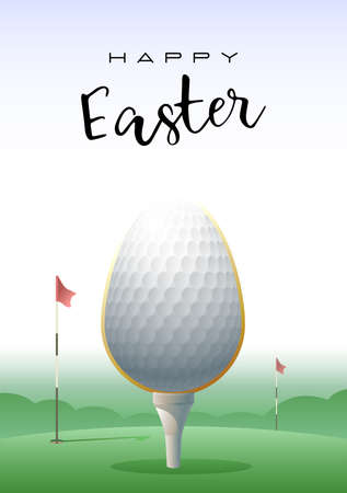 Happy Easter Sports greeting card. Realistic Easter egg in the shape of a golf ball. Vector illustration.