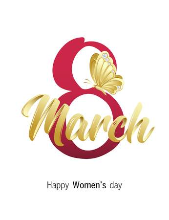 Happy Women's day. 8 March greeting card with elegant Handwritten Script, golden butterfly and diamond stones. Vector illustration. Illustration
