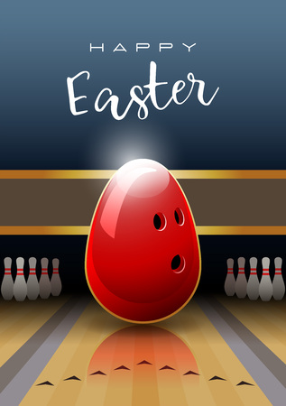 Happy Easter. Sports greeting card. A red Easter egg in the shape of a bowling ball. Vector illustration. Illustration