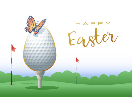 Happy Easter. A realistic Easter egg with a golf ball and butterfly. Sports greeting card. Vector illustration. Çizim