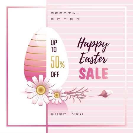 Happy Easter Sale. Greeting banner, flyer. Easter egg, Daisy flowers and sales text. Vector illustration.