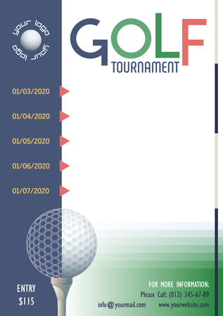 Golf Tournament poster template. Place for your text message. Vector illustration.