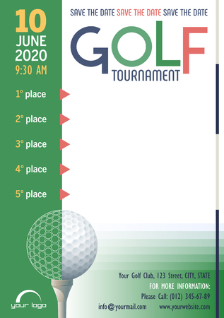Golf Tournament poster template. Save the Date. Place for your text message. Vector illustration.