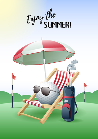 Enjoy the Summer! Sports card. Golf ball with sunglasses, beach umbrella, deck chair and golf bag on the green field. Vector illustration.