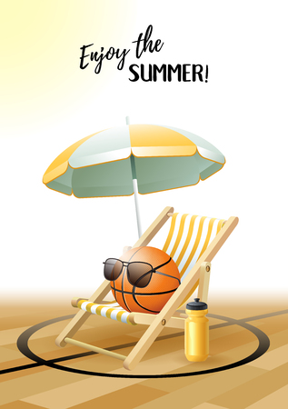 Enjoy the Summer! Sports card. Basketball ball with sunglasses, beach umbrella, deck chair and water bottle on the parquet floor. Vector illustration.