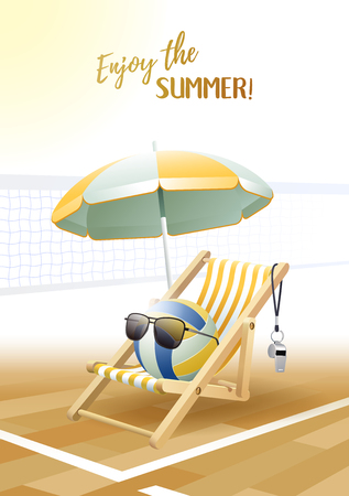 Enjoy the Summer! Sports card. Volleyball ball with sunglasses, beach umbrella, deck chair, and whistle on the volleyball court. Vector illustration.