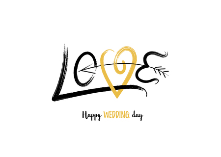 Love. Happy Wedding day. Minimalist hand drawn greeting card with golden heart and arrow. Vector illustration.