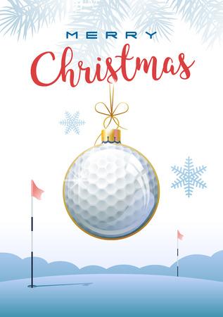 Feliz Navidad. Tarjeta de felicitación deportiva. Pelota de golf realista en forma de bola navideña. Ilustración de vector.