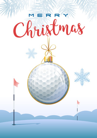 Merry Christmas. Sports greeting card. Realistic golf ball in the shape of a christmas ball. Vector illustration.