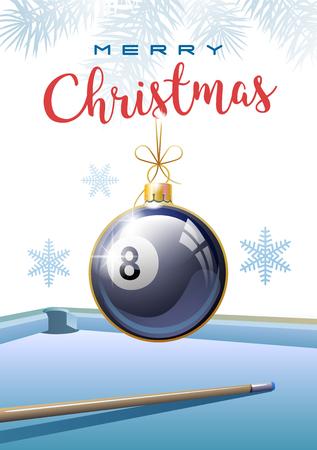 Vrolijk kerstfeest. Sport wenskaart. Realistische Biljartbal in de vorm van een kerstbal. Vector illustratie.