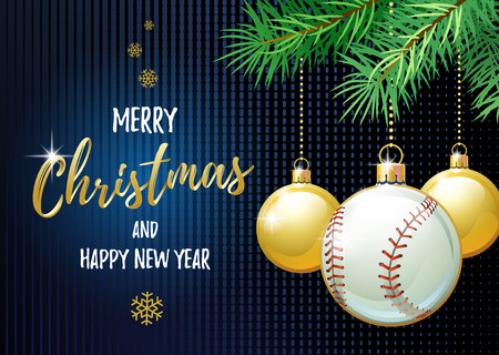 Merry Christmas and Happy New Year. Sports greeting card. Baseball ball as a Christmas ball. 向量圖像