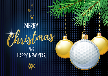 Merry Christmas and Happy New Year. Sports greeting card. Golf ball as a Christmas ball.  イラスト・ベクター素材