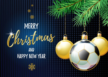 Merry Christmas and Happy New Year. Sports greeting card. Soccer ball as a Christmas ball.