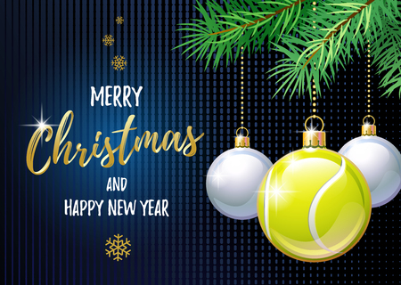 Merry Christmas and Happy New Year. Sports greeting card. Tennis ball as a Christmas ball.